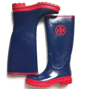TORY BURCH Red & Navy Rubber Rain Boots